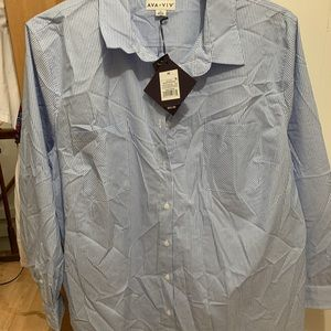 Blue and white button down blouse 4X Ava and Viv